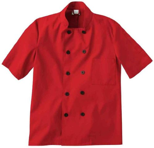 Five Star 18025 Unisex Short Sleeve Chef Jacket (Red, XXX-Large) by Five Star
