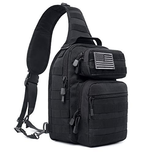 Tactical Sling Bag Pack Military Rover Shoulder Sling Backpack Molle Assault Range Bags Chest Pack Day Pack Diaper Bag (Black)