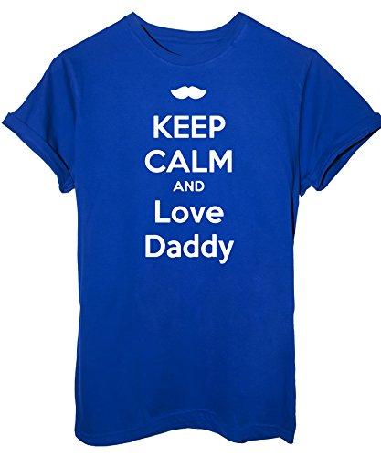 T-Shirt Papà figlio Keep Calm e ama Papà - Eventi Uomo XXL-Bambino 11-12 anni Royal