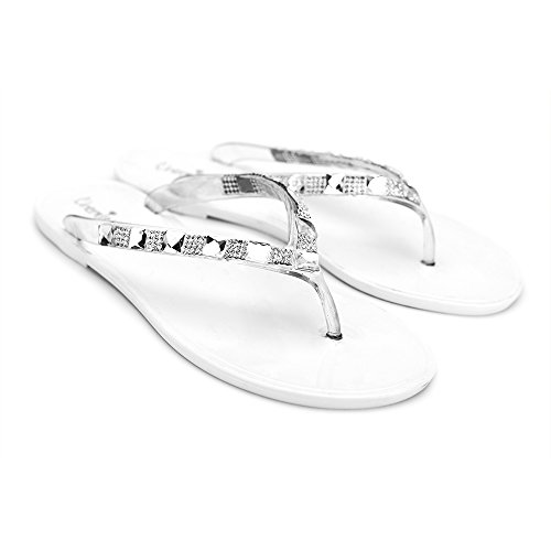 Chemistry® J5001 Tongs Plates Pour Femmes Chaussures T Strap Thong Slip On Sandales Blanches