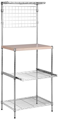 Honey-Can-Do SHF-04347 Microwave Bakers Rack with Adjustable Shelf, Chrome, 17L x 23W x 59H