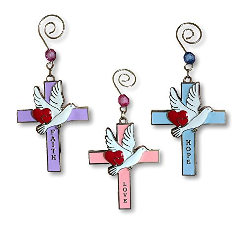 Cross Ornament Set - Christian Ornament Set - Set of 3 Religious Cross Ornaments with Doves and Faith Hope and Love - Faith Based - Religious