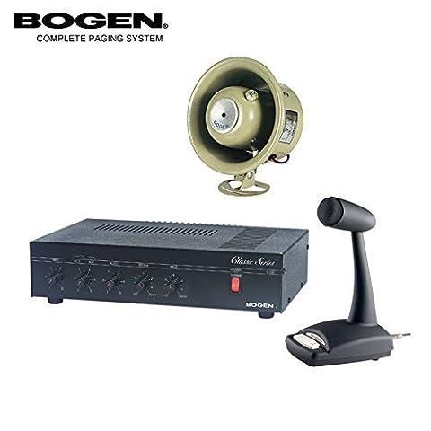 Bogen 35 Watt Commercial Paging System with Amplifier Mixer Speaker and Mic - Bogen Intercom