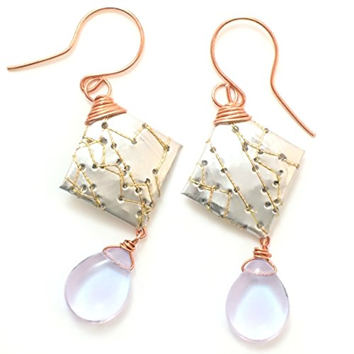 2.25-inch Upcycled Stitched Soda Can Earrings with Copper Wire and Lavender Czech Glass (Glass Lavender Suncatcher)