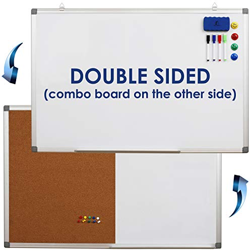 Whiteboard Bulletin Board Set Double Sided - Dry Erase/Cork Board 35 x 24