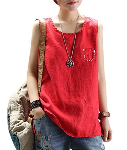 YESNO Women Hi-Low Hemline A-Line Casual Summer Simple Linen Tank Tops Vest/Embroidery Breast Pocket KA5