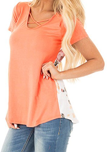 YeeATZ Women Orange Solid Front Floral Print Back Colorblock Casual Fit T-shirt