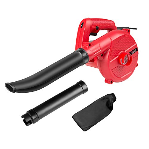 Avid Power Leaf Blower, Handheld Blower Vacuum, 5.8 Amp Car Dryer with Variable Speed, Two-Piece Tube and Dust Bag for Garden, Home and Garage, -