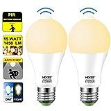Motion Sensor Light Bulb 15W Dusk to Dawn LED Light Bulb A19 PIR Built-in IR 100w Equivalent Bright 1450 Lumens E26 Base Warm White Bulbs(2 Packs) For Sale