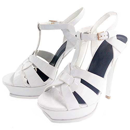 - SSLOPY& Quality Genuine Leather high Heel Sandals Women Sexy Footwear Fashion Lady Shoes R4425 33-40 White 5