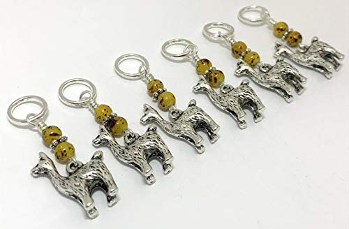 Jill's Beaded Knit Bits Snag Free Alpaca Stitch Marker Charms (set of 6)