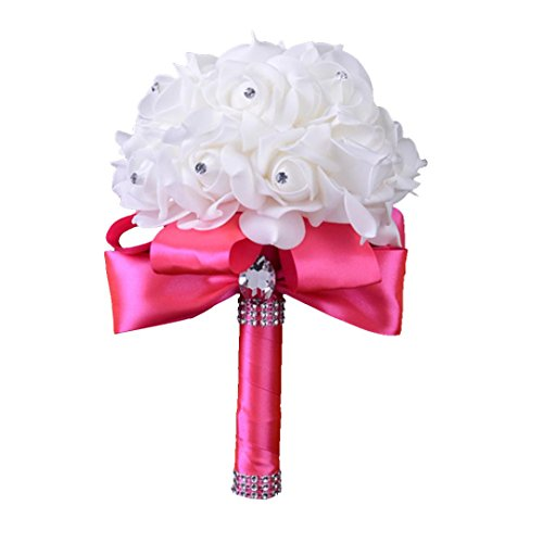 Wedding Bouquet, WensLTD Crystal Roses Pearl Bridesmaid Wedding Bouquet Bridal Artificial Silk Flowers (Hot Pink) ()