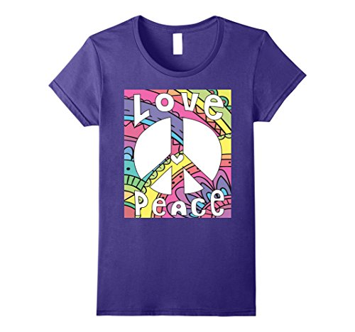 Womens PEACE SIGN LOVE T Shirt 60s 70s Tie Dye Hippie Costume Shirt Large Purple 60s 70s Cotton