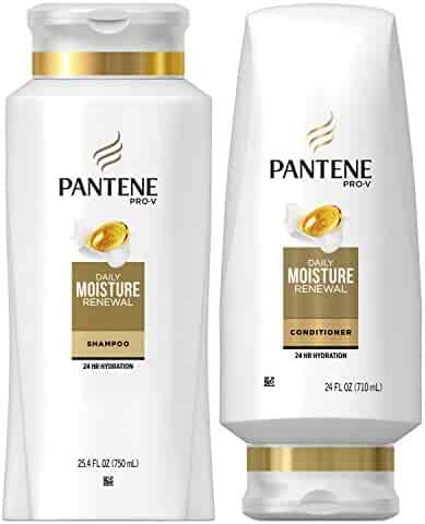 Pantene Moisturizing Shampoo 25.4 OZ and Sulfate Free Conditioner 24 OZ for Dry Hair, Daily Moisture Renewal, Bundle Pack (Packaging May Vary)