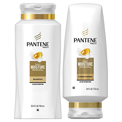 Feel Free Pack - Pantene Moisturizing Shampoo 25.4 OZ and Sulfate Free Conditioner 24 OZ for Dry Hair, Daily Moisture Renewal, Bundle Pack (Packaging May Vary)