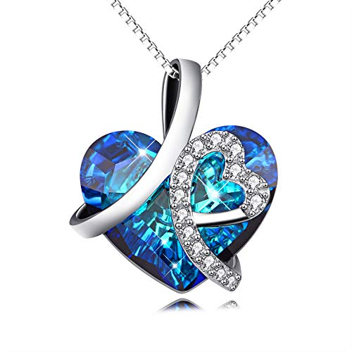 (AOBOCO Sterling Silver I Love You Forever Heart Pendant Necklace with Blue Swarovski Crystals (No Wards)
