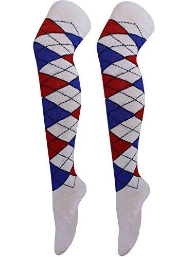 (Womens Plain Printed Over The Knee Thigh High Fancy Socks Ladies Casual Wear OTK Socks#(White Blue And Red Argyle Socks#US 2-4#Womens))
