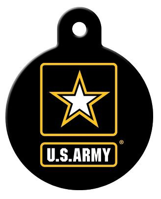 America's Armed Forces Collection Licensed Personalized Custom Engraved Pet ID Tags! (Army (Circle), Large)