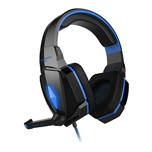 Gaming Headphone, Lifenergy Stereo Gaming Headphone Headset LED Lighting Over Ear Headphone Headband with Mic Volume Control Noise Cancelling for PC Computer - Blue in Black