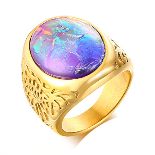 VNOX Stainless Steel Mens 18k Gold Plated Opal Stone Vintage Biker Round Signet Ring Wedding Band Rings,Size 9
