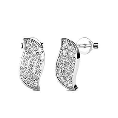 aa95304bad8d Buy NEVI Classy Fashion Crystals From Swarovski Brass Rhodium Plated Stud  Earrings Jewellery for Women And Girls (Silver) Online at Low Prices in  India ...