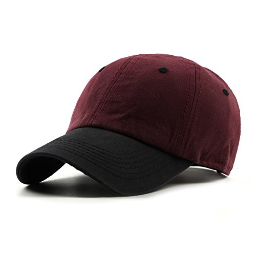 JOOWEN Unisex Cotton Classic Optimum Trucker Baseball Cap Hat (Claret) (Baseball Two Hat Tone)