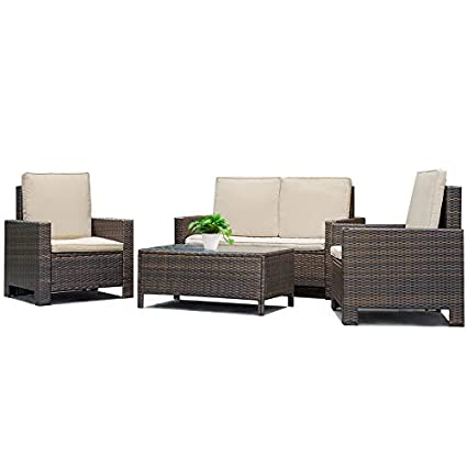 Amazon Com Fdw Patio Sofa Set 4 Pcs Outdoor Furniture Set Pe