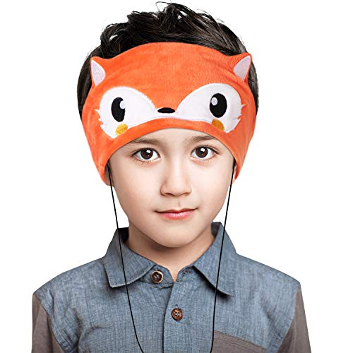 Homelove Wired Kids Headphones with Ultra Thin Adjustable 1/8 Speakers Soft Fleece Headband or Patch for School or Home Fox