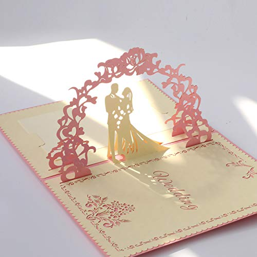 Paper Spiritz Pop up Wedding Cards Anniversary, 3D Pop up Wedding Card for Wife, 3D Valentine's Day Card, Anniversary, for Wife, with Envelopes, Wedding Invitations Blank Greeting Cards(Pink) ()