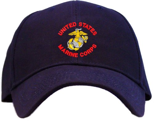 Price comparison product image Youth Size - United States Marine Corps Embroidered Baseball Cap - Navy Blue