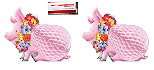 2 Pack Luau Pig Centerpiece, 12-Inch (Plus Party Planning Checklist by Mikes Super Store) (Centerpiece Pig Luau)