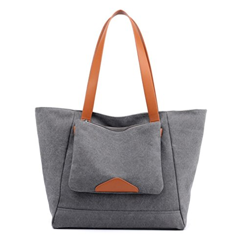 Purse Women's Canvas Grey Hobo Casual Everyday Bag 6qCtwf6Wr