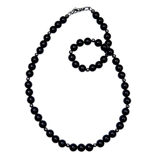 Jet Black Beaded Necklace (Satin Crystals Jet Necklace 7mm Boutique Velvety Black Lightweight Round Genuine Gemstone Beaded Handmade B01 (18))