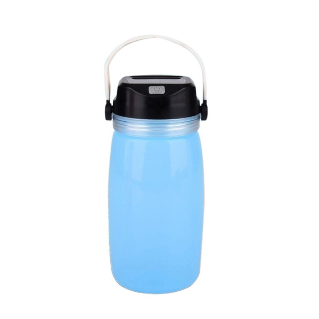preliked Creative Drink Sport Water Bottle Solar Charge Luminous Camping Travel Bike Cup (Blue)