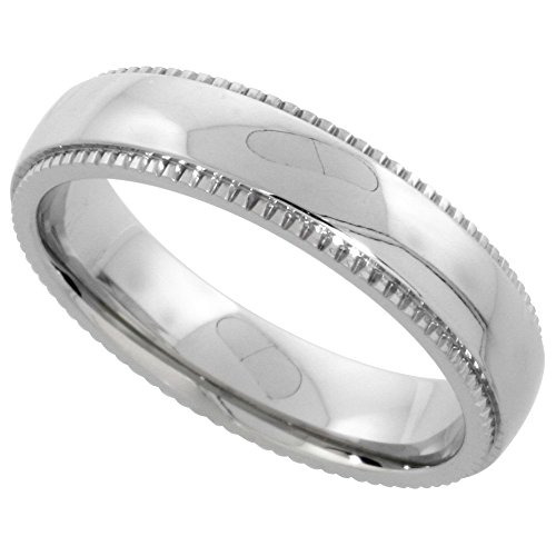 Surgical Steel 5mm Wedding Band Ring Milgrain-edged High Polished Finish Comfort-fit, size (5mm Edged Band Ring)