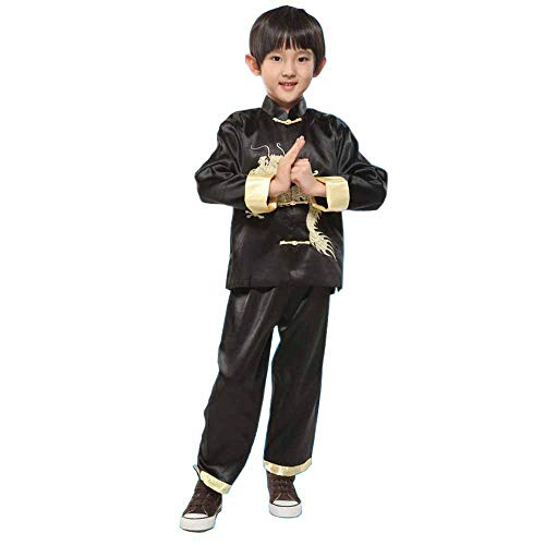 (Chinese Dragon Tang Suit China Traditional Style Embroider Sets Costume Long-Sleeve Hanfu Performance Kids Kung Fu Outfit (Black, Asia XL=US 4-5T))