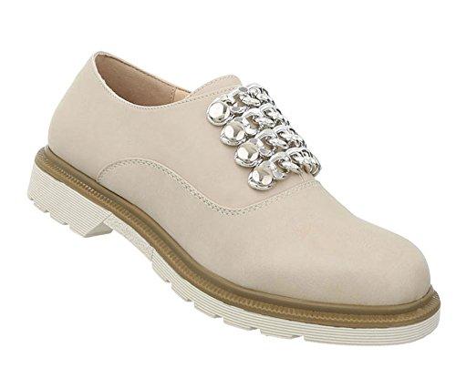 Damen Schuhe Halbschuhe Schnürer Beige