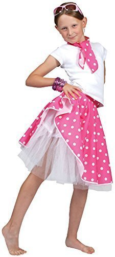 8e1f6a7daf Image Unavailable. Image not available for. Color: Girls 50's Pink Rock and Roll  Skirt & Scarf Soda Hop ...