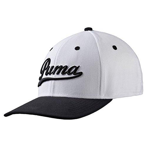 PUMA Golf- Script Fitted Cap, White/Black, Small/Medium ()