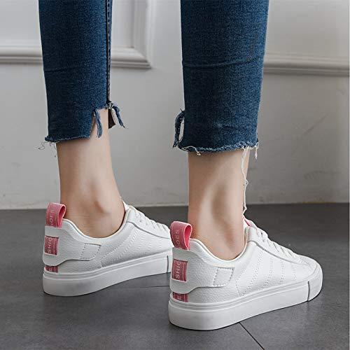 ZHZNVX Zapatos de Mujer PU (Poliuretano) Fall Comfort Sneakers Flat Heel Blanco/Amarillo / Rosa Pink