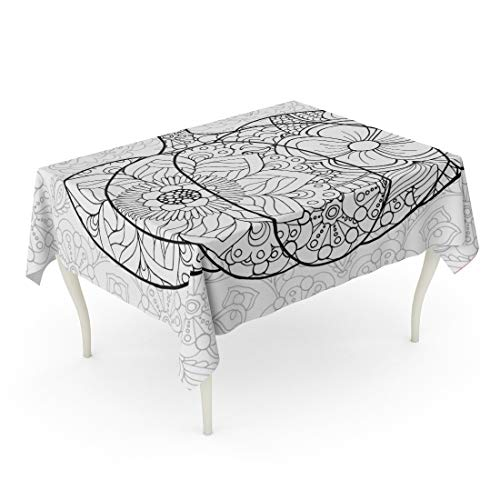 Tarolo Rectangle Tablecloth 60 x 90 Inch Adult Zentangle Pumpkin Black White Traditional Symbol of Thanksgiving Halloween Autumn Sketch for Colouring Page Coloring Table Cloth
