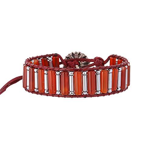 IUNIQUEEN Women Red Agate Hematite Healing Energy Balancing Wrap Bead Adjustable Bracelet