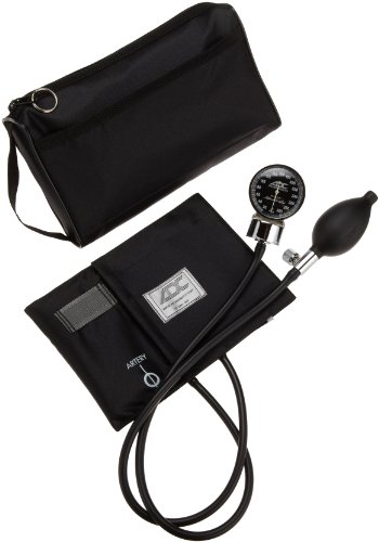 ADC Diagnostix 778 Pocket Aneroid Sphygmomanometer with Adcuff Nylon Blood Pressure Cuff, Adult, and Carrying Case, Black