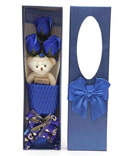 Adabele Gifts I Love You Blue Flower Bouquet Scented Soap Roses with Cute Teddy Bear Anniversary Birthday Mother's Day Valentine's Gift sf0303A by Adabele Gifts