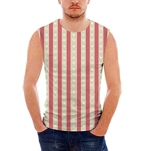 iPrint Mens Performance Muscle T- Shirts Retro,Tile of Carmine and Pale Orcher Stripes