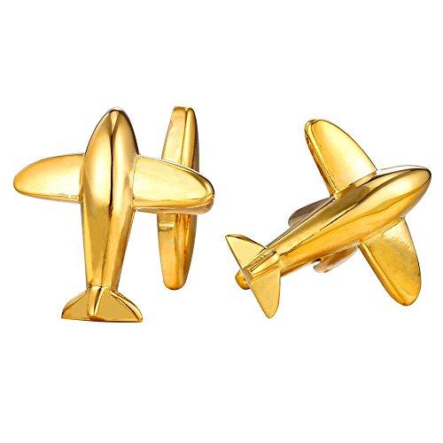 Airplane Cufflinks 18K Gold Tone Business Wedding Men Shirt Cuff Links 1 Pair Set - 18k Gold Cufflinks