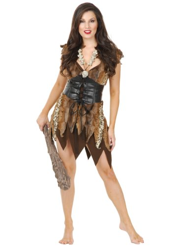 Charades Women's Cavewoman, Brown Large -
