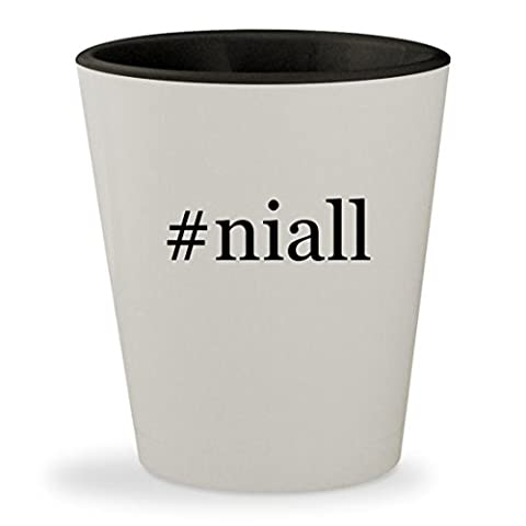 #niall - Hashtag White Outer & Black Inner Ceramic 1.5oz Shot Glass (One Direction Signed Shirts)
