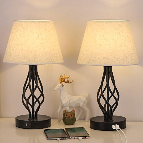 HAITRAL Bedside Table Lamp Set of 2 with Dual USB Ports, Black Metal Nightstand Lamps with USB for Bedroom, Guest Room…