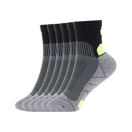 Compression Athletic Socks Men Performance Cushion Crew Socks 6 pairs by Dadita